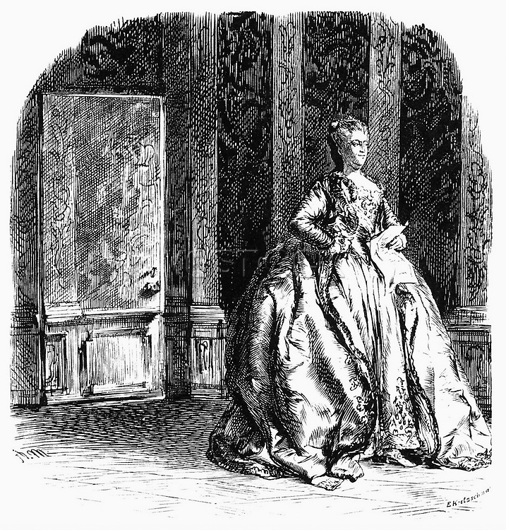 "Catherine II the Great"", 2.5.1729 - 17.11.1796, Empress, Kaiserin von Russia 28.6.1762 - 17.11.1796, with the news about the occupation of a part of Poland by Austria, wood engraving by Adolph Menzel, ""Geschichte Friedrichs des Grossen"" by Franz Kugler, Leipzig, 1840, Additional-Rights-Clearances-NA. Image shot 1840. Exact date unknown."