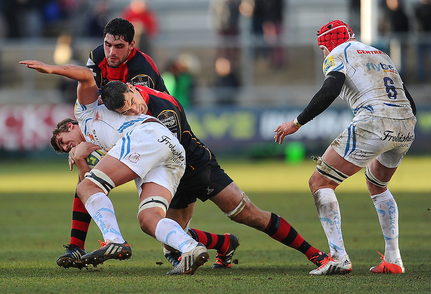Exeter Chiefs' Will Carrick-Smith Newport Gwent Dragons' Nick Crosswell<br /> <br /> Photographer Craig Thomas/CameraSport<br /> <br /> Rugby Union - European Rugby Challenge Cup Pool 3 - Newport Gwent Dragons v Exeter Chiefs - Sunday 1st February  2015 - Rodney Parade - Newport <br /> <br /> &copy; CameraSport - 43 Linden Ave. Countesthorpe. Leicester. England. LE8 5PG - Tel: +44 (0) 116 277 4147 - admin@camerasport.com - www.camerasport.com