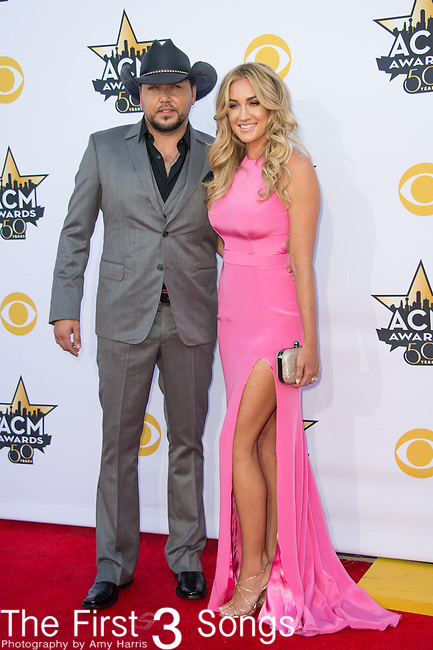 Jason Aldean and Brittany Kerr attend the 50th Academy Of Country Music Awards at AT&T Stadium on April 19, 2015 in Arlington, Texas.