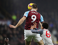 Burnley's Sam Vokes gets a push in the back from Liverpool's Trent Alexander-Arnold<br /> <br /> Photographer Andrew Kearns/CameraSport<br /> <br /> The Premier League - Burnley v Liverpool - Wednesday 5th December 2018 - Turf Moor - Burnley<br /> <br /> World Copyright &copy; 2018 CameraSport. All rights reserved. 43 Linden Ave. Countesthorpe. Leicester. England. LE8 5PG - Tel: +44 (0) 116 277 4147 - admin@camerasport.com - www.camerasport.com