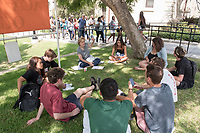 Marla Stone, Professor, History. Individual faculty advising appointments in the Academic Quad for incoming first-years at the start of Occidental College's Fall Orientation for the class of 2021, Aug. 25, 2017.<br /> (Photo by Marc Campos, Occidental College Photographer)