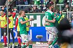 13.04.2019, Weser Stadion, Bremen, GER, 1.FBL, Werder Bremen vs SC Freiburg, <br /> <br /> DFL REGULATIONS PROHIBIT ANY USE OF PHOTOGRAPHS AS IMAGE SEQUENCES AND/OR QUASI-VIDEO.<br /> <br />  im Bild<br /> 1:0 kopfball Davy Klaassen (Werder Bremen #30)<br /> gegen #scv49 Alexander Schwolow (SC Freiburg #01) tor <br /> <br /> <br /> jubel Nuri Sahin (Werder Bremen #17)<br /> <br /> <br /> Foto © nordphoto / Kokenge