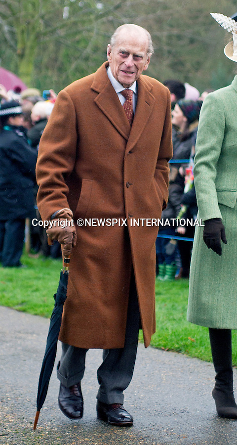 25.12.2015, Sandringham; UK: PRINCE PHILIP<br /> joined other members of the Royal Family at the Christmas Day Church Service at St. Mary Magdalene's on the Sandringham Estate.<br /> Royals in attendance included the Queen,Prince Charles, Camilla, Prince Andrew, Princesses Beatrice and Eugenie, Princes William and Harry, Princess Anne, Tim Laurence, Prince Edward, Sophie Wessex, The Linleys and The Chattos<br /> MANDATORY PHOTO CREDIT: &copy;AvantImage/NEWSPIX INTERNATIONAL<br /> <br /> (Failure to credit will incur a surcharge of 100% of reproduction fees)<br /> <br /> Newspix International, 31 Chinnery Hill, Bishop's Stortford, ENGLAND CM23 3PS<br /> Tel:+441279 324672<br /> Fax: +441279656877<br /> Mobile:  07775681153<br /> e-mail: info@newspixinternational.co.uk<br /> All Fees Payable To Newspix International
