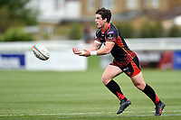 Rhodri Davies of the Dragons passes the ball. Pre-season friendly match, between Ealing Trailfinders and the Dragons on August 11, 2018 at the Trailfinders Sports Ground in London, England. Photo by: Patrick Khachfe / Onside Images