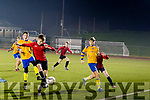 Shane Stack, gets in to score Tralee Dynamos 2nd goal from just outside the 6 yrd box when they met Killorglin FC in the U13 league game last Thursday night, Feb 13, at Mounthawk Park, Tralee.