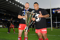 Matt Giteau and Chris Masoe of RC Toulon celebrate with the European Rugby Champions Cup trophy