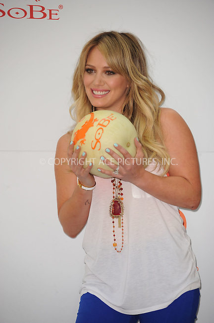 WWW.ACEPIXS.COM . . . . . .May 25, 2011...New York City.....Hilary Duff participates in SoBe Celebrities 'Try Everything'  challenge in Madison Square Park on May 25, 2011 in New York City....Please byline: KRISTIN CALLAHAN - ACEPIXS.COM.. . . . . . ..Ace Pictures, Inc: ..tel: (212) 243 8787 or (646) 769 0430..e-mail: info@acepixs.com..web: http://www.acepixs.com .
