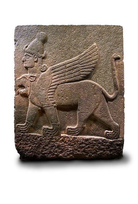 Picture & image of a Neo-Hittite orthostat describing the legend of Gilgamesh from Karkamis,, Turkey. Ancora Archaeological Museum. A three headed Sphinx which is a winged lion with a human heas and a bird of prey's head on the end of its tail 3