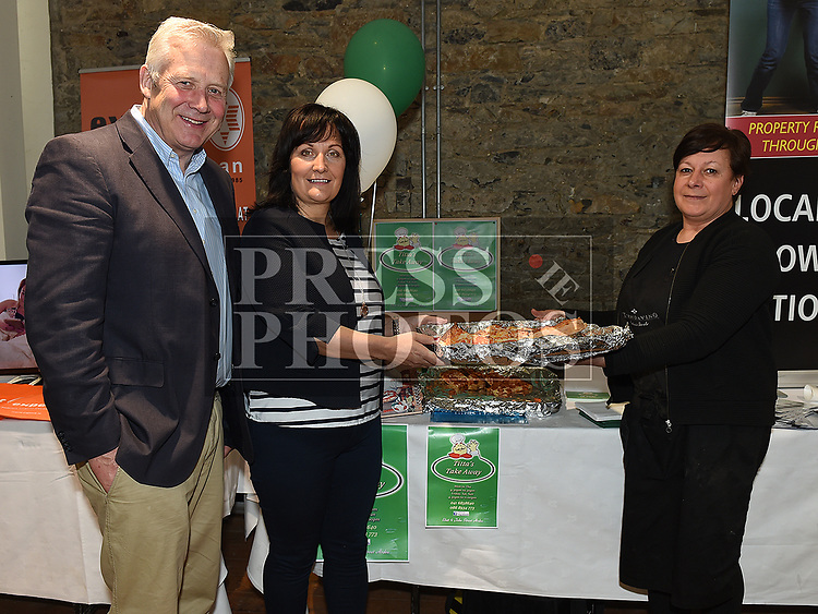 Fergus O'Dowd TD and Councillor Dolores Minogue with Tittas Orlandi from Titta's Pizza at the Bank of Ireland Expo held in the old church Ardee. Photo:Colin Bell/pressphotos.ie