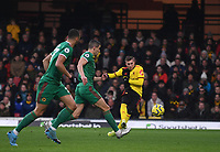 1st January 2020; Vicarage Road, Watford, Hertfordshire, England; English Premier League Football, Watford versus Wolverhampton Wanderers; Gerard Deulofeu of Watford shoots and scores in 29th minute 1-0 - Strictly Editorial Use Only. No use with unauthorized audio, video, data, fixture lists, club/league logos or 'live' services. Online in-match use limited to 120 images, no video emulation. No use in betting, games or single club/league/player publications