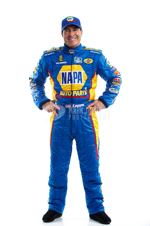 Feb 8, 2017; Pomona, CA, USA; NHRA funny car driver Ron Capps poses for a portrait during media day at Auto Club Raceway at Pomona. Mandatory Credit: Mark J. Rebilas-USA TODAY Sports