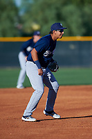 AZL Brewers Blue third baseman Luis Silva (3) during an Arizona League game against the AZL Royals at Surprise Stadium on June 18, 2019 in Surprise, Arizona. AZL Royals defeated AZL Brewers Blue 12-7. (Zachary Lucy/Four Seam Images)