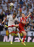 Fabio Coentrao vies with Bastian Schweinsteiger during the UEFA Champions League semifinal first leg football match Real Madrid CF vs FC Bayern Munchen at the Santiago Bernabeu stadium in Madrid in Madrid on April 23, 2014.   PHOTOCALL3000/ DP