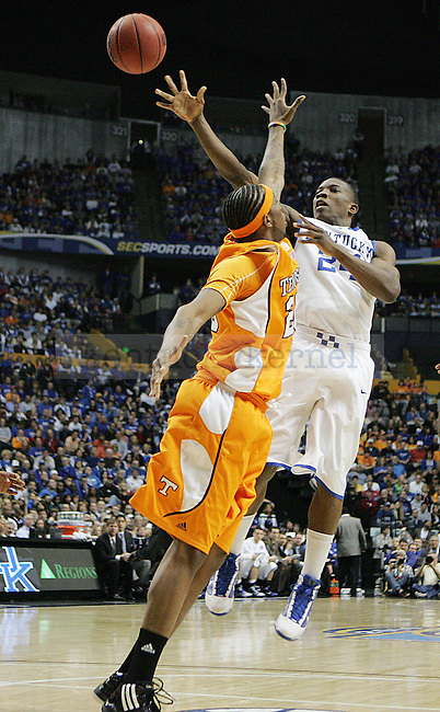 Freshman guard Eric Bledsoe takes a shot in the first half of UK's 74-45 win overTennessee at Bridgestone Arena in Nashville, TN during the SEC Semifinals on Saturday, March 13, 2010. Photo by Britney McIntosh | Staff