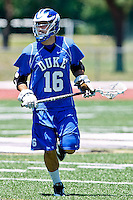 April 30, 2011:  Duke Blue Devils midfielder Tom Rynn (16) during lacrosse action between the Duke Blue Devils and Jacksonville Dolphins at D. B. Milne Field in Jacksonville, Florida.  Duke defeated Jacksonville 10-6.