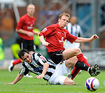 Chris Degnall of Rochdale tussles with Ricky Ravenhill of Darlington during the League Two playoff match at The Spotland, Stadium, Rochdale. Picture date 10th May 2008. Picture credit should read: Simon Bellis/Sportimage