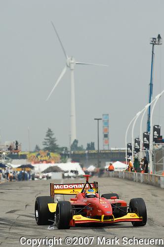 Sebastien Bourdais exits the pits at the Steelback Grand Prix of Toronto and Champ Car Atlantic, 2007