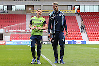 Barry Richardson of Wycombe Wanderers and Jamal Blackman of Wycombe Wanderers ahead of the Sky Bet League 2 match between Doncaster Rovers and Wycombe Wanderers at the Keepmoat Stadium, Doncaster, England on 29 October 2016. Photo by David Horn.