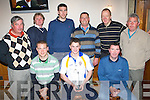 SCRAMBLE: Johnny Keane (seated centre), with his trophy having won The Kerins O'Rahillys Golf Society Scramble in Castlegregory on Friday. Seated l-r: Declan Quill, Johnny Keane and James Lynch. Standing l-r: Martin Daly, Shane Ronan, Patrick Madden, Johnny Keane Snr., Tom O'Shea and Pat Lynch.   Copyright Kerry's Eye 2008