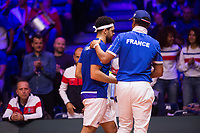 Le joueur de tennis fran&ccedil;ais Jo-Wilfried Tsonga oppos&eacute; au joueur Croate Marin Cilic lors de la  Finale de la Coupe Davis France vs Croatie, au Stade Pierre Mauroy &agrave; Villeneuve d'Ascq . Match gagn&eacute; par l'&eacute;quipe de Croatie.<br /> France, Villeneuve d'Ascq , 23 novembre 2018.<br /> French tennis player Jo-Wilfried Tsonga vs Croatian tennis player Marin Cilic during the final of the Davis Cup, at the Pierre Mauroy stadium in Villeneuve d'Ascq .<br /> Match won by Croatian team.<br /> France, Villeneuve d'Ascq , 23 November 2018