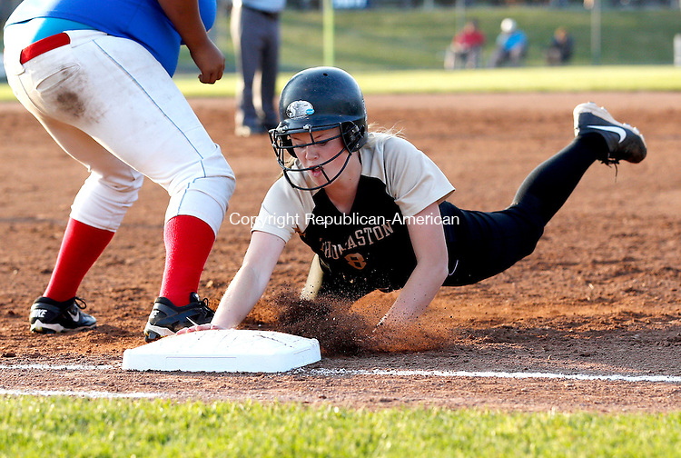 West Haven, CT- 10 June 2015-061015CM07-  Thomaston's Gabrielle Hurlbert  slides safely back to first following a fly ball against Hale Ray during their Class S semi-final matchup in West Haven on Wednesday.  Thomaston won, 14-4 advancing to Class S state finals.    Christopher Massa Republican-American