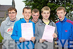 St Brendan's College students l-r: Denis Cronin, Chris Brady, Gordon Buckley, Noel O'Sullivan and Timmy Cooper who sat the Leaving Cert English paper on Wednesday