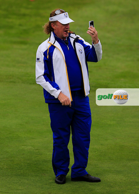 Miguel Angel Jimenez (EUR) during the Sunday Singles Matches at the 2014 Ryder Cup at Gleneagles. The 40th Ryder Cup is being played over the PGA Centenary Course at The Gleneagles Hotel, Perthshire from 26th to 28th September 2014.: Picture Thos Caffrey, www.golffile.ie: \28/09/2014\