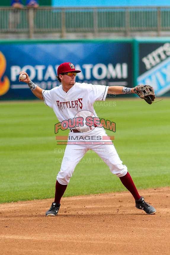 Wisconsin Timber Rattlers shortstop Trever Morrison (13) throws to first base during a Midwest League game against the Bowling Green Hot Rods on July 23, 2018 at Fox Cities Stadium in Appleton, Wisconsin. Wisconsin defeated Bowling Green 5-3. (Brad Krause/Four Seam Images)