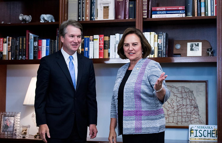 UNITED STATES - JULY 12: Supreme Court nominee Brett Kavanaugh meets with Sen. Deb Fischer, R-Neb., in her office in the Russell Senate Office Building on Thursday, July 12, 2018. (Photo By Bill Clark/CQ Roll Call)