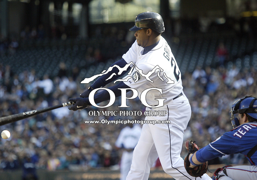 04 October 2009: Seattle Mariners designated hitter Ken Griffey Jr struck out in his first at bat  of the game against Texas. Seattle won 4-3 over the Texas Rangers at Safeco Field in Seattle, Washington.