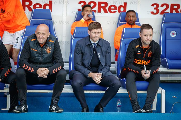 29.08.2019 Rangers v Legia Warsaw: Gary McAllister, Steven Gerrard and Michael Beale