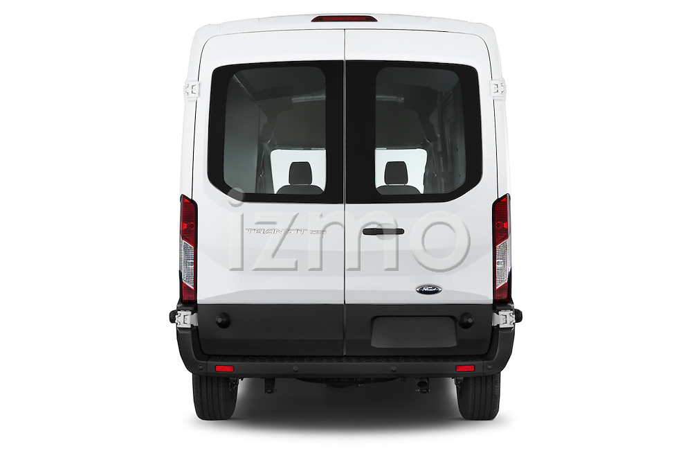 Straight rear view of a 2015 Ford Transit 250 Van Med Roof Sliding Pass. 130 WB 2 Door Van Rear View  stock images