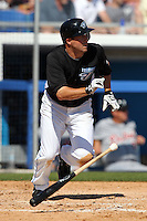 Toronto Blue Jays John McDonald #6 during a Spring Training game vs the Detroit Tigers at Florida Auto Exchange Stadium in Dunedin, Florida;  February 26, 2011.  Detroit defeated Toronto 4-0.  Photo By Mike Janes/Four Seam Images
