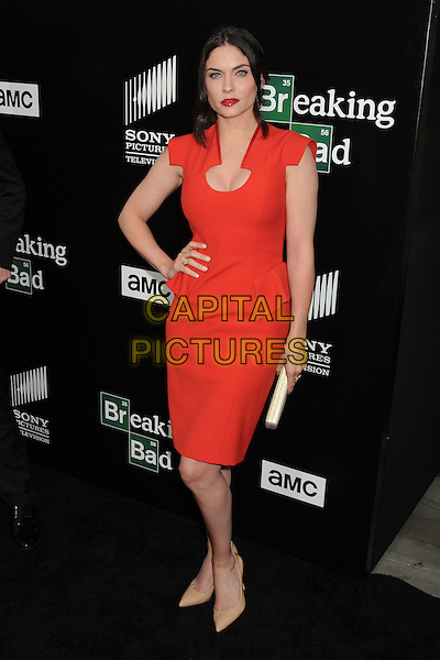 Jodi Lyn O'Keefe<br /> &quot;Breaking Bad&quot; Final Episodes Los Angeles Premiere Screening held at Sony Pictures Studios, Culver City, California, USA, 24th July 2013.<br /> full length dress red lipstick cleavage hand on hip peplum <br /> CAP/ADM/BP<br /> &copy;Byron Purvis/AdMedia/Capital Pictures