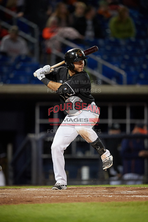 Quad Cities River Bandits designated hitter Alexander De Goti (10) at bat during a game against the Lake County Captains on May 6, 2017 at Modern Woodmen Park in Davenport, Iowa.  Lake County defeated Quad Cities 13-3.  (Mike Janes/Four Seam Images)