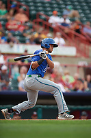 Hartford Yard Goats center fielder Omar Carrizales (19) follows through on a swing during a game against the Erie SeaWolves on August 6, 2017 at UPMC Park in Erie, Pennsylvania.  Erie defeated Hartford 9-5.  (Mike Janes/Four Seam Images)