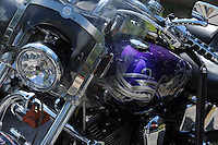 NWA Democrat-Gazette/ANDY SHUPE<br /> Participants enjoy the 16th annual Bikes, Blues & BBQ motorcycle rally on Dickson Street in Fayetteville.