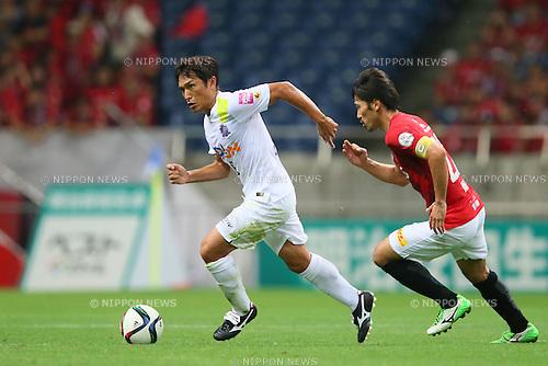 (L to R) <br /> Toshihiro Aoyama (Sanfrecce), <br /> Yuki Abe (Reds), <br /> JULY 19, 2015 - Football /Soccer : <br /> 2015 J1 League 2nd stage match <br /> between Urawa Red Diamonds 1-2 Sanfrecce Hiroshima <br /> at Saitama Stadium 2002, Saitama, Japan. <br /> (Photo by YUTAKA/AFLO SPORT)