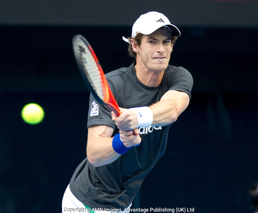 ANDY MURRAY practicing on Rod Laver Arena at Melbourne Park...14/01/2012, 14th January 2012, 13.01.2012..The Australian Open, Melbourne Park, Melbourne,Victoria, Australia.@AMN IMAGES, Frey, Advantage Media Network, 30, Cleveland Street, London, W1T 4JD .Tel - +44 208 947 0100..email - mfrey@advantagemedianet.com..www.amnimages.photoshelter.com.