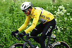Race leader Yellow Jersey Edvald Boasson Hagen (NOR) Team Dimension Data during another wet Stage 2 of the Criterium du Dauphine 2019, running 180km from Mauriac to Craponne-sur-Arzon, France. 9th June 2019<br /> Picture: ASO/Alex Broadway | Cyclefile<br /> All photos usage must carry mandatory copyright credit (© Cyclefile | ASO/Alex Broadway)