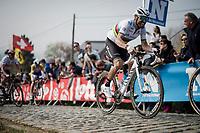 Alejandro Valverde (ESP/Movistar) in the final ascent up the Paterberg<br /> <br /> 103rd Ronde van Vlaanderen 2019<br /> One day race from Antwerp to Oudenaarde (BEL/270km)<br /> <br /> ©kramon