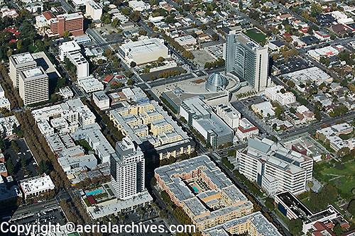 aerial photograph City Hall, San Jose, Santa Clara county, California, Richard Meier & Partners, architects