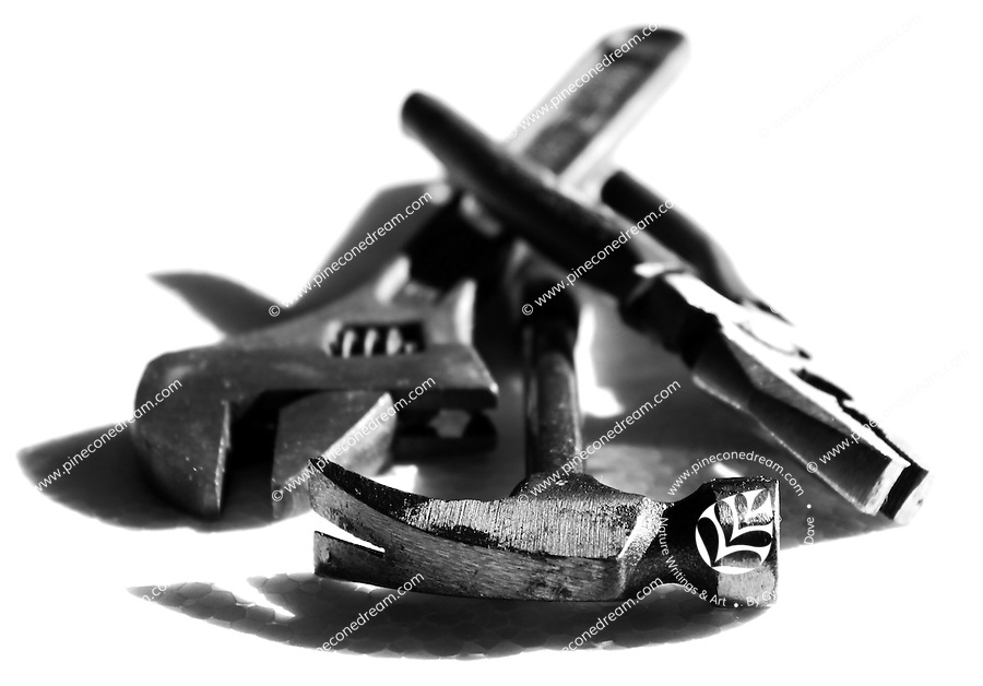 Tools lying on white background black and white fine art stock image.<br />