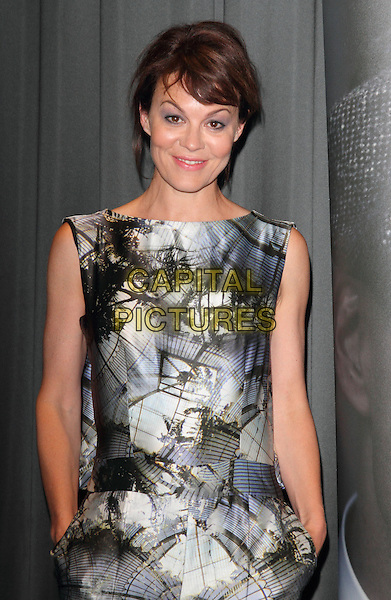 Helen McCrory<br /> Gala Screening of 'Peaky Blinders' at the BFI South Bank, London, England.<br /> 21st August 2013<br /> half length black white blue pattern grey gray sleeveless jumpsuit hands in pockets <br /> CAP/ROS<br /> &copy;Steve Ross/Capital Pictures
