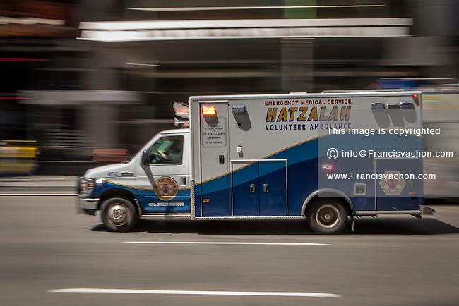 An Hatzalah Hasidic Jewish ambulance is pictured in the New York City borough of Manhattan, NY, Monday May 12, 2014. Hatzolah (or Hatzalah) is a volunteer Emergency Medical Service (EMS) organization serving mostly Jewish communities around the world.