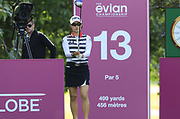 Minjee Lee (AUS) prepares to tee off the 13th tee during Friday's Round 2 of The Evian Championship 2018, held at the Evian Resort Golf Club, Evian-les-Bains, France. 14th September 2018.<br /> Picture: Eoin Clarke | Golffile<br /> <br /> <br /> All photos usage must carry mandatory copyright credit (&copy; Golffile | Eoin Clarke)