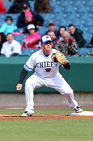 Syracuse Chiefs first baseman Tyler Moore #12 during the opening game of the International League season against the Rochester Red Wings at Alliance Bank Stadium on April 5, 2012 in Syracuse, New York.  Rochester defeated Syracuse 7-4.  (Mike Janes/Four Seam Images)