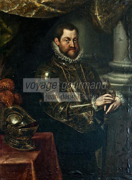 Europe/France/Aquitaine/24/Dordogne/Jumilhac-le-Grand: Château de Jumilhac - Portrait de Rodolphe II de Habsbourg, protecteur des alchimistes.
