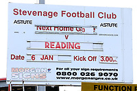 The sign announcing the match during Stevenage vs Reading, Emirates FA Cup Football at the Lamex Stadium on 6th January 2018
