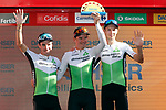 Team Dimension Data leading team at the end of Stage 17 of the La Vuelta 2018, running 186.1km from Ejea de los Caballeros to Lleida, Spain. 13th September 2018.                   <br /> Picture: Unipublic/Photogomezsport | Cyclefile<br /> <br /> <br /> All photos usage must carry mandatory copyright credit (&copy; Cyclefile | Unipublic/Photogomezsport)